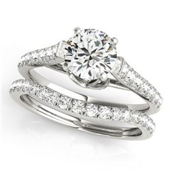 1.33 CTW Certified VS/SI Diamond Solitaire 2Pc Wedding Set 14K White Gold - REF-150K9W - 31679