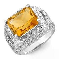 5.0 CTW Citrine & Diamond Ring 14K White Gold - REF-71W8F - 10374
