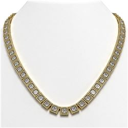41.80 CTW Princess Diamond Designer Necklace 18K Yellow Gold - REF-7719W3F - 42724