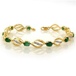 5.10 CTW Emerald & Diamond Bracelet 10K Yellow Gold - REF-70X9T - 10331