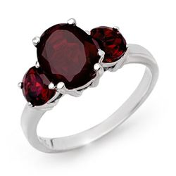 3.05 CTW Garnet Ring 10K White Gold - REF-22T2M - 13555