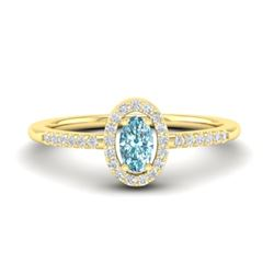 0.50 CTW Topaz & Micro Pave VS/SI Diamond Ring Halo 18K Yellow Gold - REF-31F3N - 21382