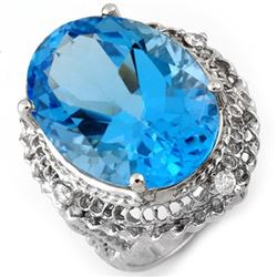 18.15 CTW Blue Topaz & Diamond Ring 10K White Gold - REF-54T4M - 10784