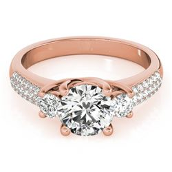 1.25 CTW Certified VS/SI Diamond 3 Stone Micro Pave Ring 18K Rose Gold - REF-225F3N - 28021