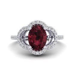 2 CTW Garnet & Micro Pave VS/SI Diamond Ring 10K White Gold - REF-33A3X - 20984