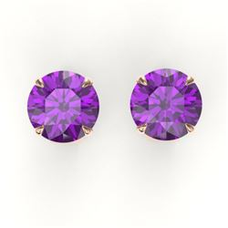 4 CTW Amethyst Designer Inspired Solitaire Stud Earrings 14K Rose Gold - REF-23Y3K - 21808