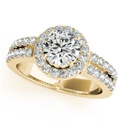 0.85 CTW Certified VS/SI Diamond Solitaire Halo Ring 18K Yellow Gold - REF-155K5W - 26735