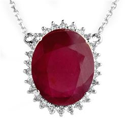 9.25 CTW Ruby & Diamond Necklace 18K White Gold - REF-603F3N - 14083