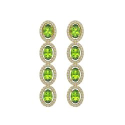 5.88 CTW Peridot & Diamond Halo Earrings 10K Yellow Gold - REF-112Y5K - 40531