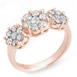 1.25 CTW Certified VS/SI Diamond Ring 14K Rose Gold - REF-92H8A - 10211