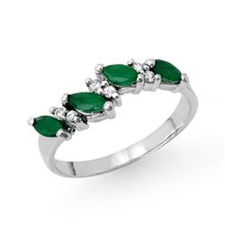 0.61 CTW Emerald & Diamond Ring 18K White Gold - REF-36T2M - 12492