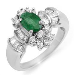 1.75 CTW Emerald & Diamond Ring 18K White Gold - REF-86H8A - 10586