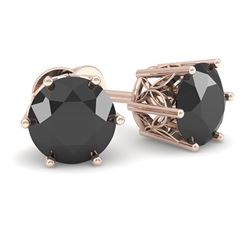 1.0 CTW Black Certified Diamond Stud Art Deco Earrings 14K Rose Gold - REF-35F3N - 29663