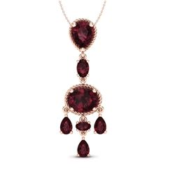 8 CTW Garnet Necklace Designer Vintage 10K Rose Gold - REF-34W4F - 20401