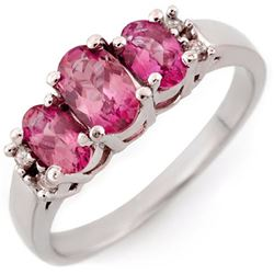 1.16 CTW Pink Sapphire & Diamond Ring 14K White Gold - REF-31A3X - 14348