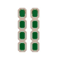 12.33 CTW Emerald & Diamond Halo Earrings 10K Rose Gold - REF-178A2X - 41427
