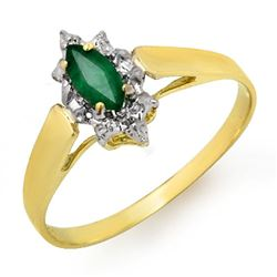 0.25 CTW Emerald Ring 10K Yellow Gold - REF-10X2T - 12905