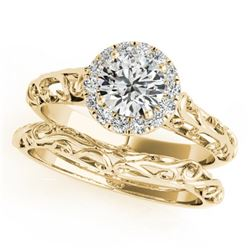 0.62 CTW Certified VS/SI Diamond Solitaire 2Pc Wedding Set Antique 14K Yellow Gold - REF-110H9A - 31
