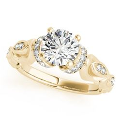 0.95 CTW Certified VS/SI Diamond Solitaire Antique Ring 18K Yellow Gold - REF-200M5H - 27308