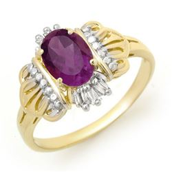 0.77 CTW Amethyst & Diamond Ring 10K Yellow Gold - REF-17X3T - 12425