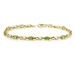 2.26 CTW Peridot & Diamond Bracelet 10K Yellow Gold - REF-25N8Y - 12941