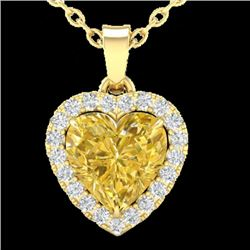 1 CTW Citrine & Micro Pave VS/SI Diamond Heart Necklace Halo 14K Yellow Gold - REF-28A4X - 21337