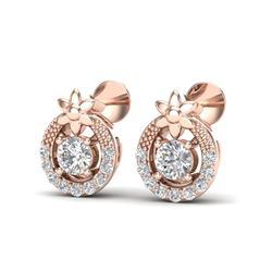 0.40 CTW Micro Pave VS/SI Diamond Halo Solitaire Earrings 14K Rose Gold - REF-34K5W - 20052