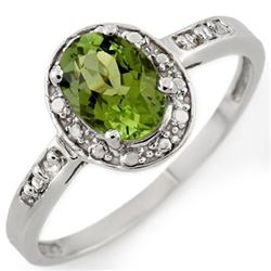 1.10 CTW Green Tourmaline & Diamond Ring 10K White Gold - REF-24N4Y - 11510