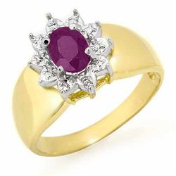 0.40 CTW Amethyst Ring 10K Yellow Gold - REF-15W5F - 12648