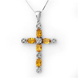 2.15 CTW Citrine & Diamond Necklace 10K White Gold - REF-33A6X - 11386