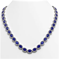 52.15 CTW Sapphire & Diamond Halo Necklace 10K White Gold - REF-655X3T - 40559