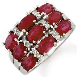 3.15 CTW Ruby & Diamond Ring 18K White Gold - REF-69T3M - 11666