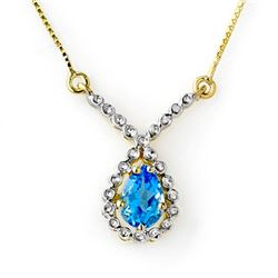 1.05 CTW Blue Topaz Necklace 10K Yellow Gold - REF-17T3M - 12599
