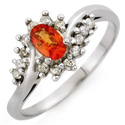 0.55 CTW Orange Sapphire & Diamond Ring 14K White Gold - REF-29W8F - 10100
