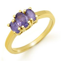 1.0 CTW Tanzanite Ring 10K Yellow Gold - REF-22W2F - 13887