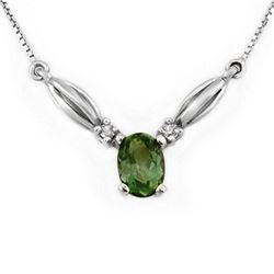 1.30 CTW Green Tourmaline & Diamond Necklace 10K White Gold - REF-28X5T - 11540