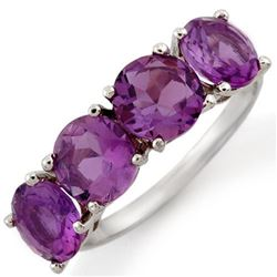 3.66 CTW Amethyst Ring 10K White Gold - REF-25N5Y - 10333