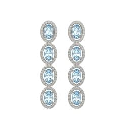 4.68 CTW Aquamarine & Diamond Halo Earrings 10K White Gold - REF-115M6H - 40526