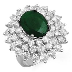 10.02 CTW Emerald & Diamond Ring 18K White Gold - REF-368Y4K - 13306