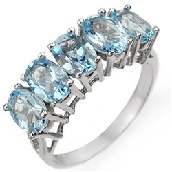 3.0 CTW Blue Topaz Ring 10K White Gold - REF-17K3W - 10998