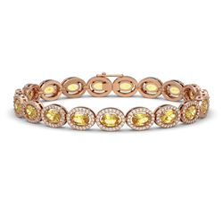 12.73 CTW Fancy Citrine & Diamond Halo Bracelet 10K Rose Gold - REF-226Y9K - 40494