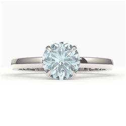 2 CTW Sky Blue Topaz Designer Solitaire Engagement Ring 18K White Gold - REF-36Y2K - 22246
