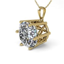 1 CTW VS/SI Cushion Cut Diamond Solitaire Necklace 18K Yellow Gold - REF-285K2W - 35872