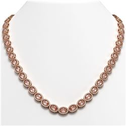 31.96 CTW Morganite & Diamond Halo Necklace 10K Rose Gold - REF-604M2H - 40413