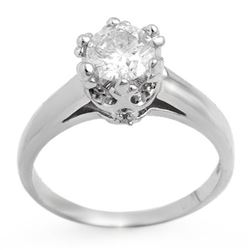1.0 CTW Certified VS/SI Diamond Ring 18K White Gold - REF-284K3W - 11549