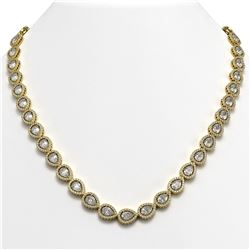 33.08 CTW Pear Diamond Designer Necklace 18K Yellow Gold - REF-6137F3N - 42733