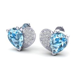 2.50 CTW Sky Blue Topaz & Micro Pave VS/SI Diamond Earrings 10K White Gold - REF-30K2W - 20067