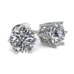 0.53 CTW Certified VS/SI Diamond Stud Solitaire Earrings 18K White Gold - REF-60M8H - 35817