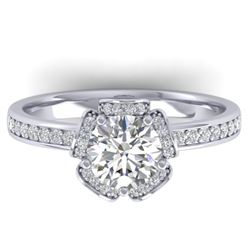 1.75 CTW Certified VS/SI Diamond Art Deco Ring 14K White Gold - REF-390T4M - 30273