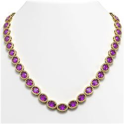 45.16 CTW Amethyst & Diamond Halo Necklace 10K Yellow Gold - REF-560F2N - 40594